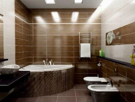 ванная в коричнево бежевых тонах