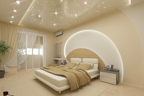 как установить точечный светильник в натяжной потолок