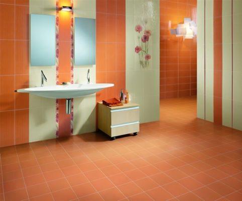 оранжевая плитка для ванной комнаты фото