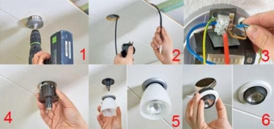 как расположить точечные светильники на потолке