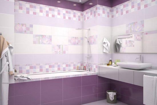 дизайн фиолетовой ванной