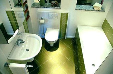 дизайн зеленой ванной